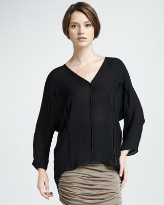Oversize Silk Top, Black