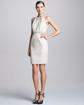Brocade Halter Cocktail Dress