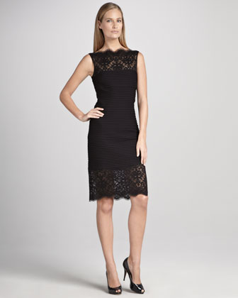 Sleeveless Cocktail Dress with Lace and Pintucking