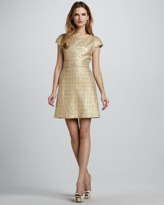Alice + Olivia Elise Metallic Tweed Dress