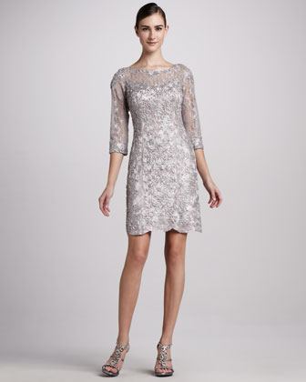 Three-Quarter-Sleeve Embellished Cocktail Dress
