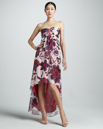 Solana Floral Strapless High-Low Dress
