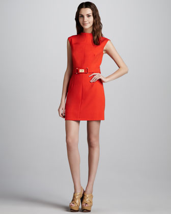 Daphne Belted Dress, Persimmon