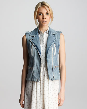Denim Zipper Vest