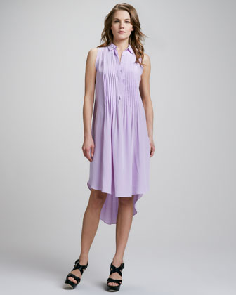 Sleeveless Pintucked Shirtdress