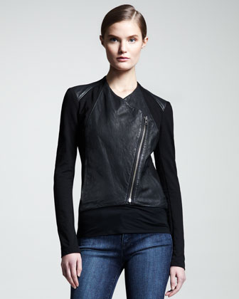 Washed Leather Paneled Jacket