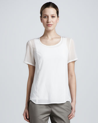 Scoop-Neck Sheer-Sleeve Blouse
