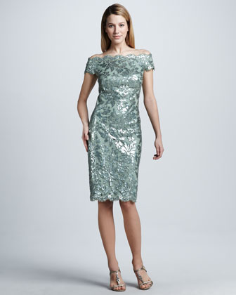 Off-Shoulder Sequined Lace Cocktail Dress