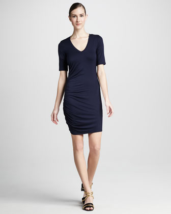 V-Neck Shirred-Side Dress