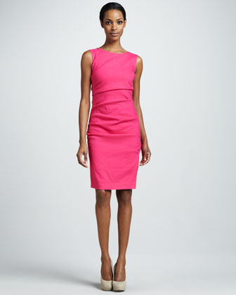 Ruched Linen-Blend Sheath Dress