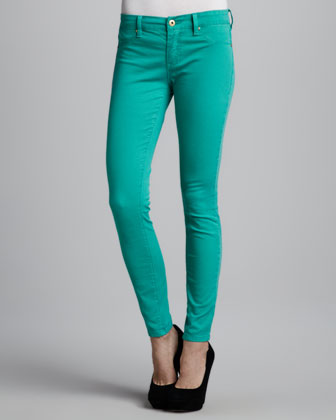 Spray-On Skinny Jeans, Green
