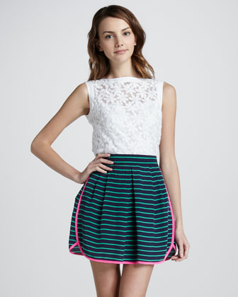 Caricature Striped Skirt