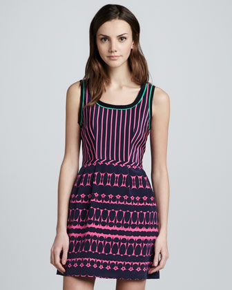 Striped Printed Sleeveless Dress