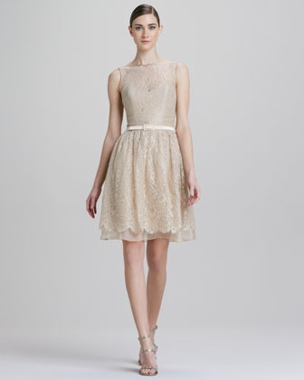 Metallic Lace Illusion Party Dress