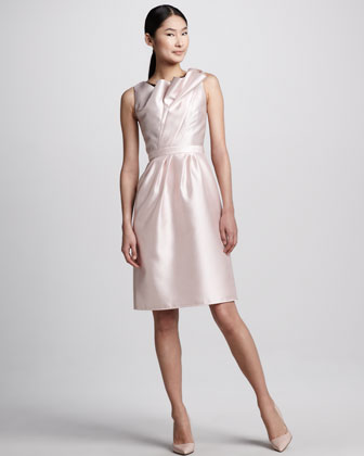 Tulip-Neck Cocktail Dress