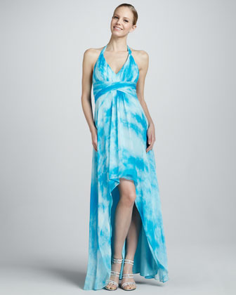High-Low Printed Chiffon Halter Gown