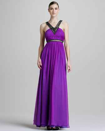 Beaded Chiffon Halter Gown