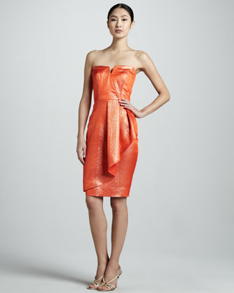 Strapless Metallic Cocktail Dress