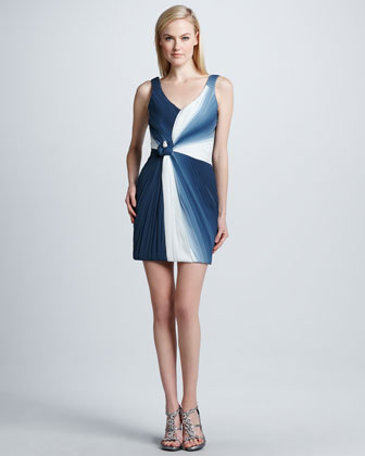 Ruched Ombre Geometric Cocktail Dress