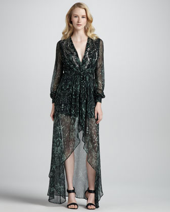 Long-Sleeve Printed High-Low Gown