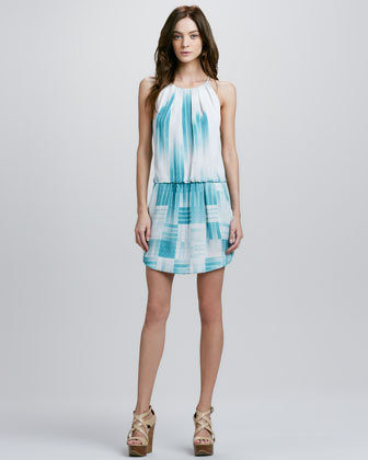 Bar-Print Halter Dress