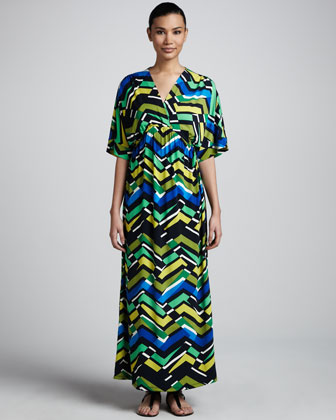 Zigzag-Print Maxi Dress, Women's