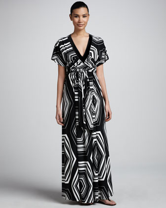 Geometric-Print Jersey Maxi Dress, Women's