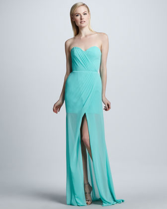 Strapless Gown with Front Slit