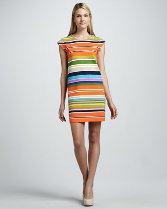nico striped cap-sleeve dress