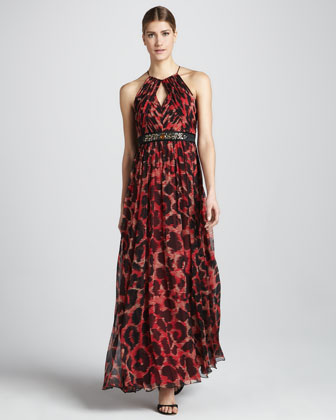 Leopard-Print Halter Dress