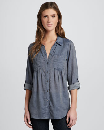 Pinot Button-Down Denim Blouse