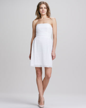 Strapless Eyelet Lace Dress