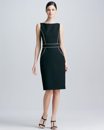 Sleeveless Jewel-Neck Piping Dress