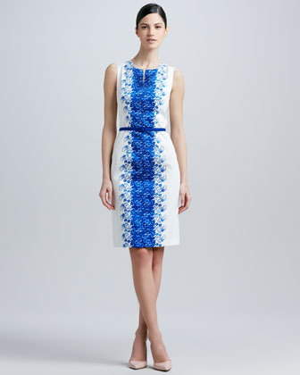 Sleeveless Print-Panel Belted Dress