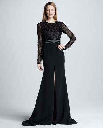 Long-Sleeve Beaded Slit Gown