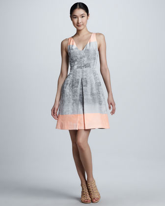 Ombre Taffeta V-Neck Dress