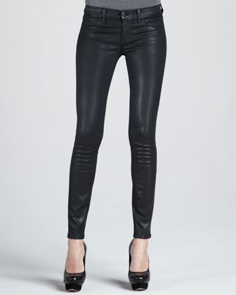 Coated Denim Leggings
