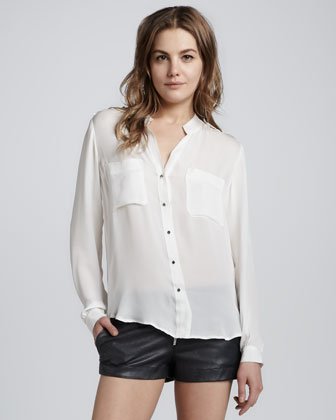 Long-Sleeve Epaulet Blouse