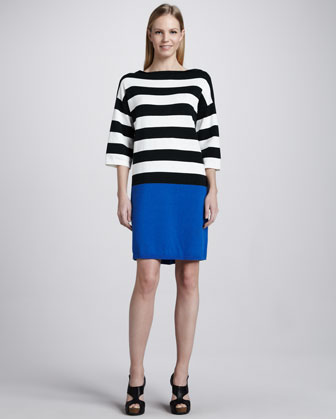 Colorblock Striped Dress, Women's