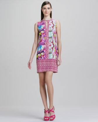 Abstract Orchid Print Sleeveless Dress
