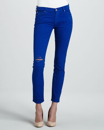 Destroyed Cigarette Jeans, Electric Blue