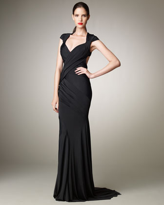 Open-Back Jersey Gown