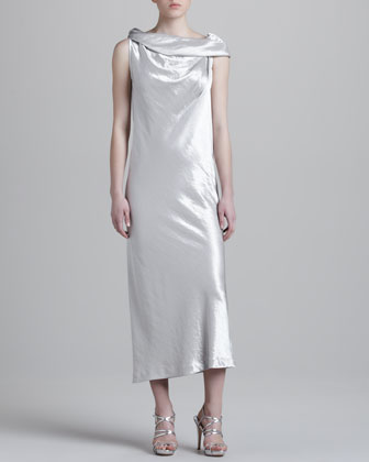 Drape-Neck Metallic Dress
