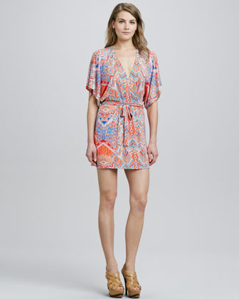 Palms-Print Kimono Wrap Dress, Coral/Multicolor
