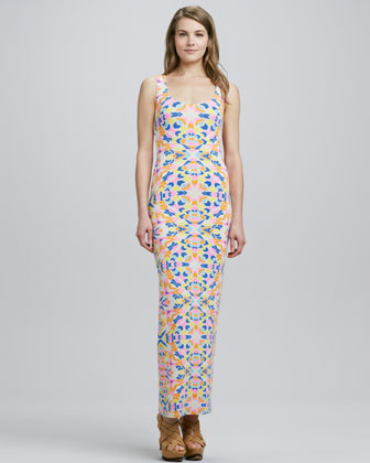 Aloha Jersey Fitted Maxi Dress