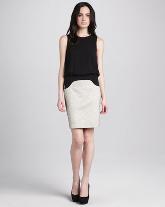 Tweed Sleeveless Seamed Dress