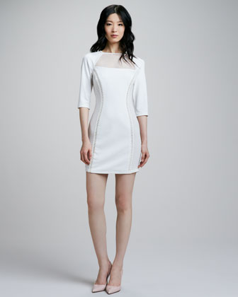 Harp Sheer-Top Crepe Dress