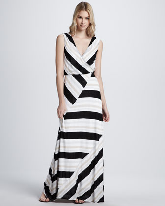 Zadie Wrap-Stripe Dress