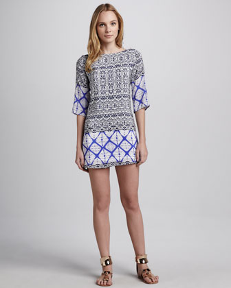 Mix-Print Silk Dress