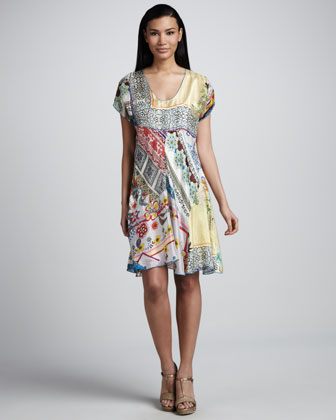 Mixed Print Silk Flare Dress, Women's